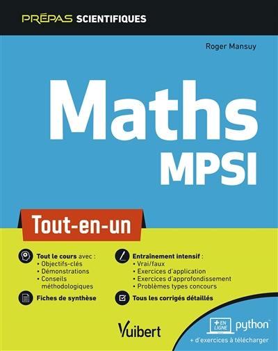 Livre : Maths MPSI, le livre de Roger Mansuy - Vuibert